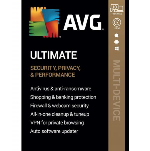 AVG Ultimate 2021 with Antivirus + Cleaner, Secure VPN 10 Devices 1 Year