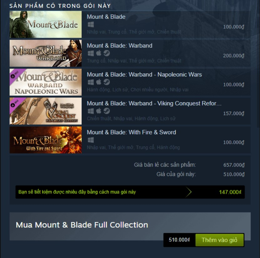 Mount & Blade Full Collection Steam Key