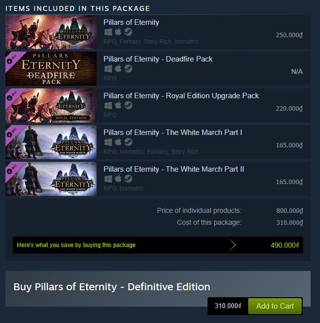 Pillars of Eternity (Definitive Edition) Steam Key