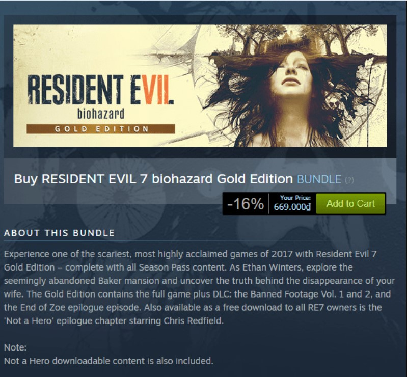 Resident Evil 7 Biohazard (Gold Edition) Steam Key