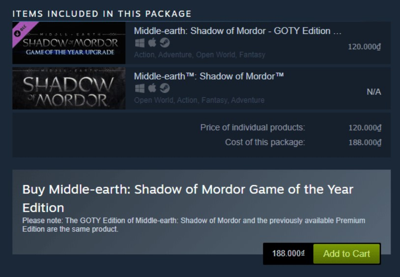 Shadow of Mordor (Game of the Year Edition) Steam Key