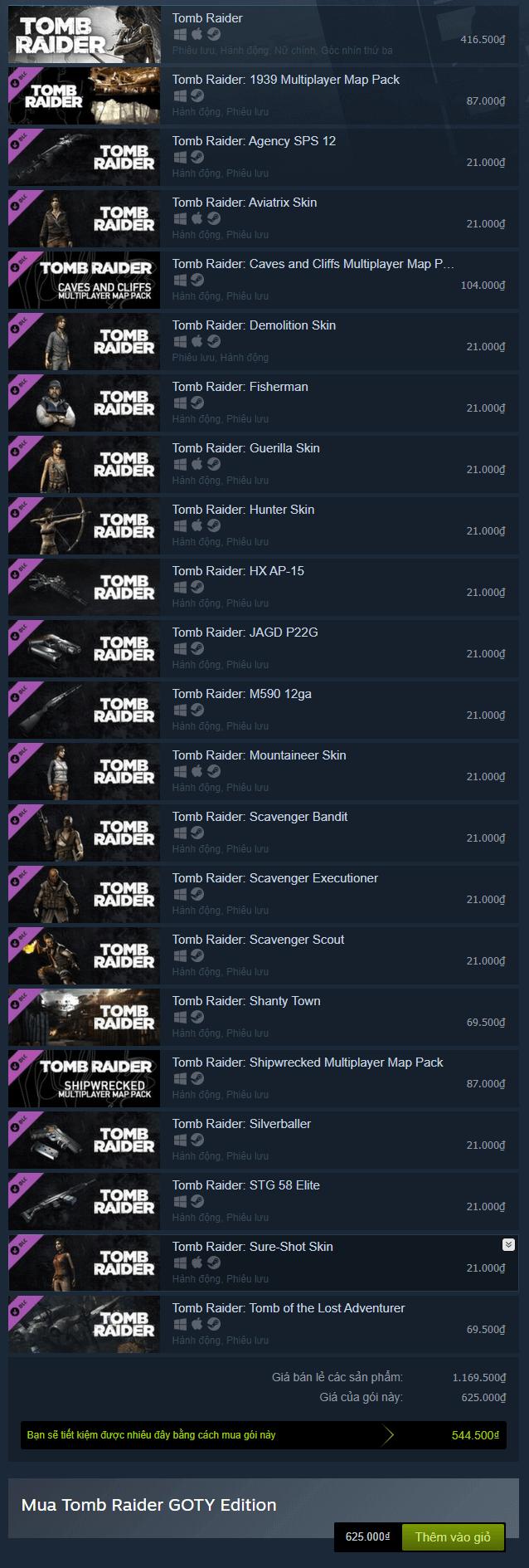 Tomb Raider GOTY Steam Key pack 1